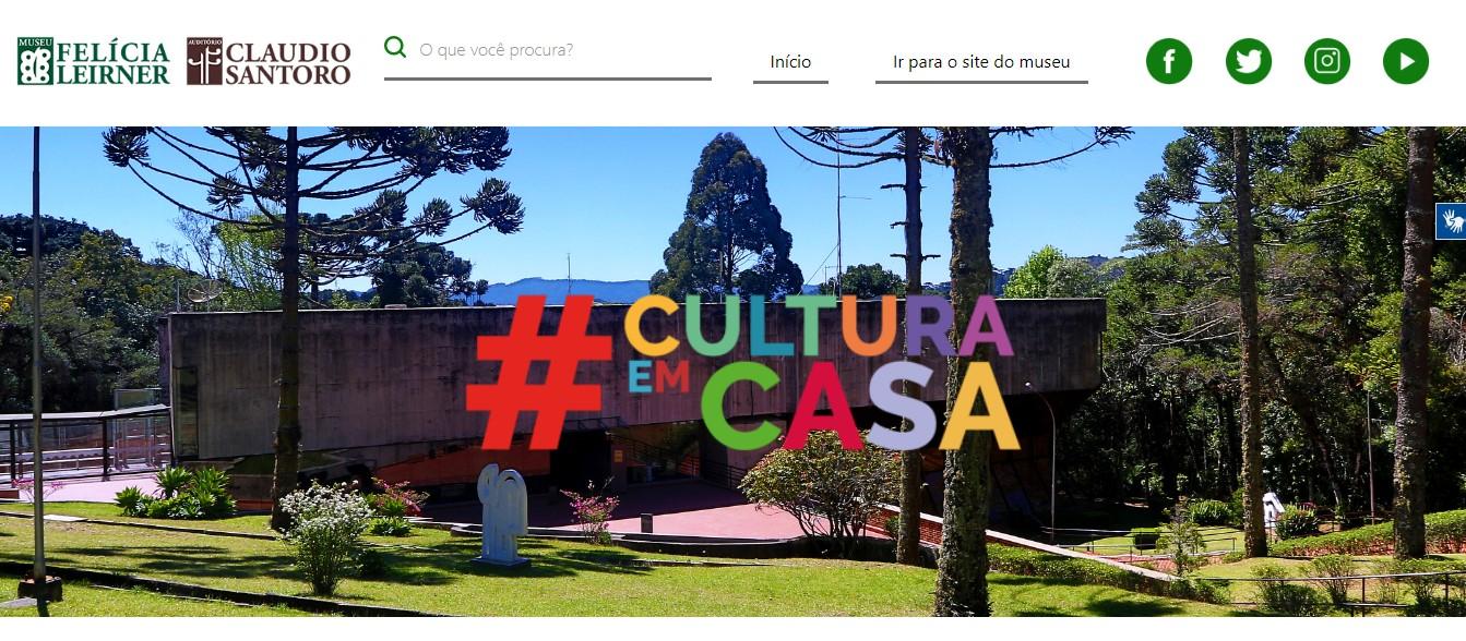 Print da página #CulturaEmCasa dentro do site do Museu Felícia Leirner